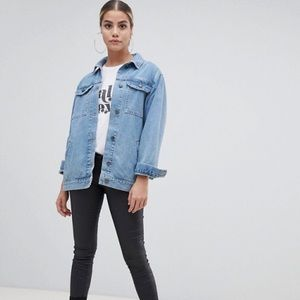 ASOS Denim Girlfriend Jacket In Stonewashed Blue